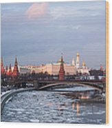 Moscow Kremlin In Winter Evening - Featured 3 Wood Print