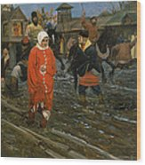 Moscow Street On A Public Holiday Wood Print