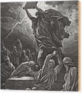 Moses Breaking The Tablets Of The Law Wood Print
