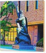 Moses Statue At The Main Library Wood Print