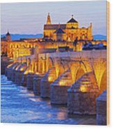 Mosque-cathedral And The Roman Bridge In Cordoba Wood Print