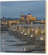 Mosque Cathedral Of Cordoba Also Called The Mezquita And Roman Bridge Wood Print