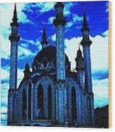 Mosque In Blue Colors Wood Print