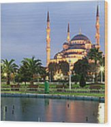 Mosque Lit Up At Dusk, Blue Mosque Wood Print