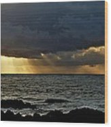 Moss Beach Sunset Storm Wood Print by Elery Oxford