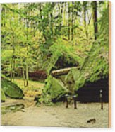 Moss Covered Rocks In Forest, Rocky Wood Print