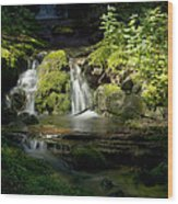Mossy Rocks Waterfall 1 Wood Print