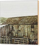 Mossy Shed Wood Print