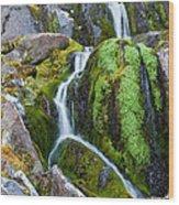 Mossy Waterfall At Snow Lake Wood Print