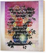 Most Powerful Prayer With Flowers In A Vase Wood Print