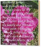 Most Powerful Prayer With Peony Bush Wood Print