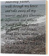 Most Powerful Prayer With Seascape Wood Print