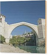 Mostar Bridge In Bosnia Wood Print