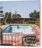 Motel Pool 3 Wood Print