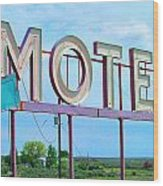 Motel Sign - Arrow Wood Print