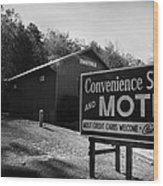 Motel Sign In Black And White Wood Print