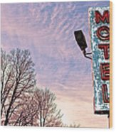 Motel Sign Wood Print