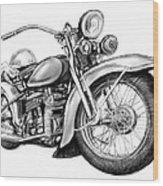 Motercycle Drawing Art Sketch - 4 Wood Print
