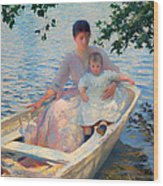 Mother And Child In A Boat Wood Print