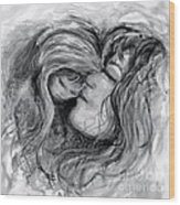 Mother and Child in Black and White Wood Print