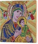 Mother And Child Hand Embroidery Wood Print by To-Tam Gerwe