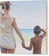 Mother And Son At Beach Wood Print by Kicka Witte