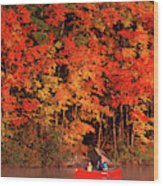 Mother And Son Canoeing Near Fall Wood Print