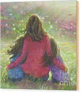 Mother And Twin Girls In Garden Wood Print