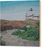 Mother Ann And Eastern Point Light Wood Print