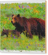 Mother Bear And Cub In Meadow Wood Print