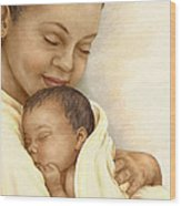 Mother Wood Print by Beverly Levi-Parker