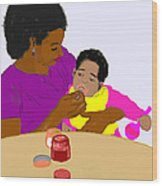 Mother Feeding Her Baby Wood Print