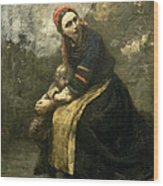 Mother Protecting Her Child Wood Print