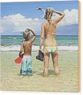Mother Son Snorkel Wood Print by Kicka Witte