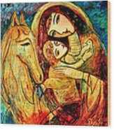 Mother With Child On Horse Wood Print