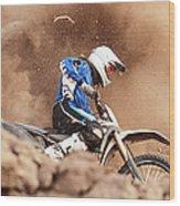 Motocross Biker Taking A Turn In The Wood Print