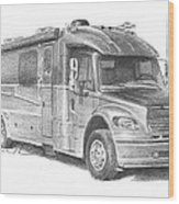 Motor Home Pencil Portrait Wood Print