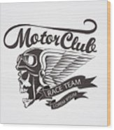 Motor Skull Crest Graphic. - Vector Wood Print