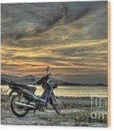 Motorbike At Sunset Wood Print