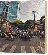 Motorbikes In Traffic Wood Print
