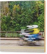Motorcycle And Green Forest Wood Print