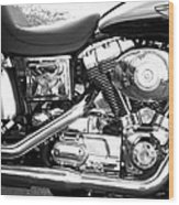 Motorcycle Close-up Bw 3 Wood Print