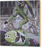 Kawasaki Motorcycle Crash Wood Print