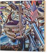 Motorcycle Helmet And Flag Wood Print
