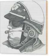 Motorcycle Officer On The Job Wood Print