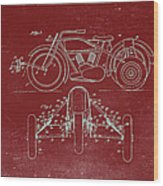 Motorcycle Support Patent Drawing From 1932 3 Wood Print