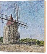 Moulin De Daudet Fontvieille France On A Texture Dsc01833 Wood Print