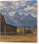 Moulton Barn Panorama - Grand Teton National Park Wyoming Wood Print