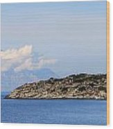 Mount Athos In Clouds View From Sithonia Greece Wood Print