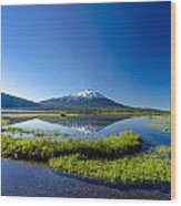 Mount Bachelor And Sparks Lake Wood Print